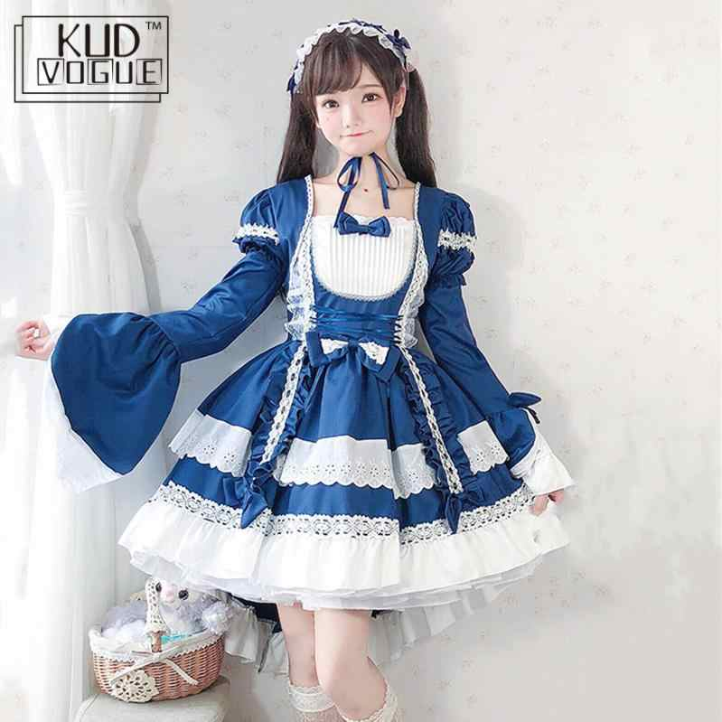 Court Maid Gothic Black Short Sleeve Lace Trim Bowknot Dress Japanese Vintage Women Lolita Kawaii Cosplay Op Princess Dresses