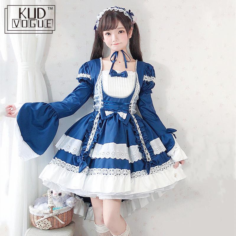 Court Maid Gothic Black Short Sleeve Lace Trim Bowknot Dress Japanese Vintage Women Lolita Kawaii Cosplay Op Princess Dresses