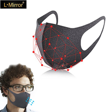 L. מראה 3 יח\סט אנטי אלרגי PM2.5 פה מסכת, אופנה Dustproof קר בלוק חדש אורגני ספוג מסכה חדש