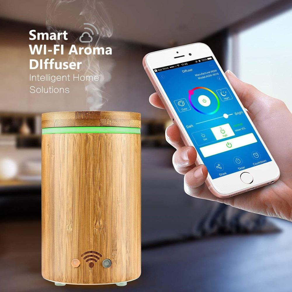 160ml Smart Wifi Wireless Bamboo Aroma Essential Oil Diffuser Aromatherapy Ultrasonic Air Humidifier For Room Bedroom Home