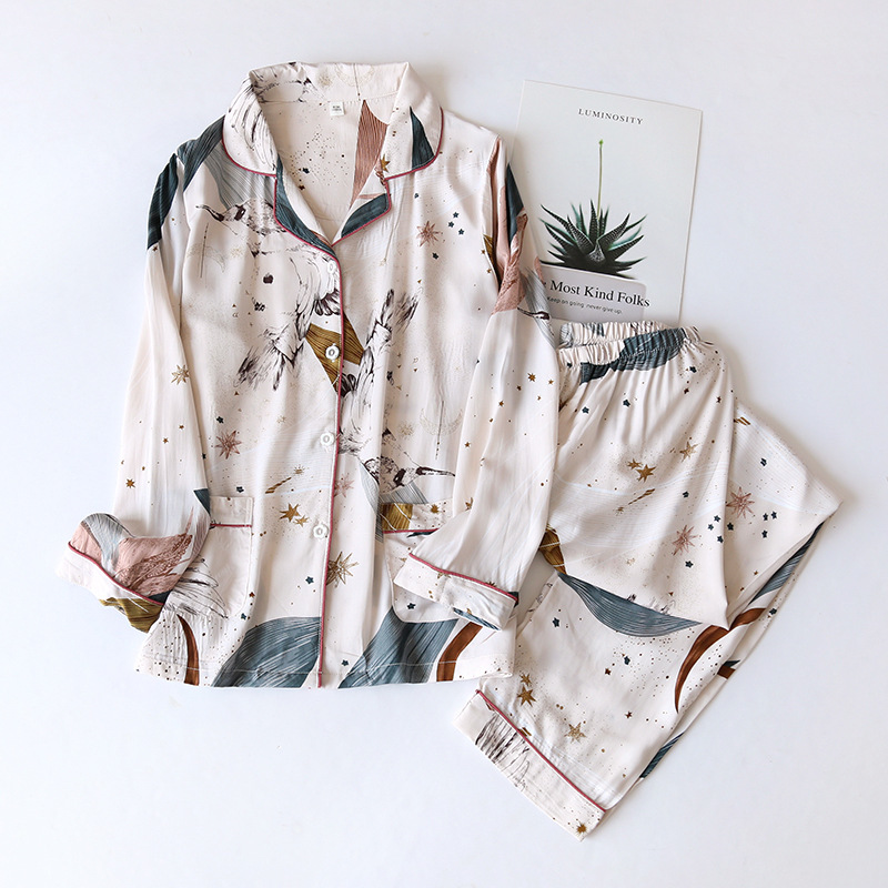Spring / Summer 2021 New 100% viscose long sleeved trousers ladies pajamas suit simple style long pajamas women's home service