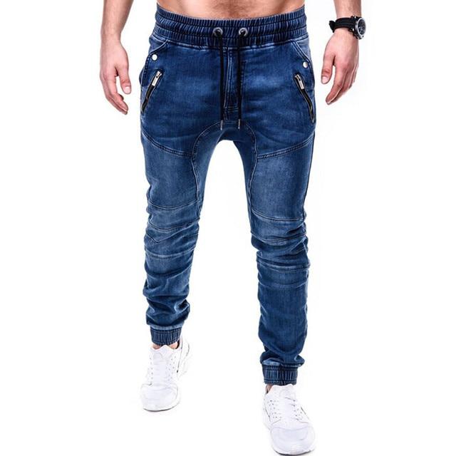 Pantalones vaqueros ajustados azules y grises para hombre, pantalón vaquero negro con cremallera, pantalones pitillo de color puro para Vaqueros, pantalones de locomotora 2