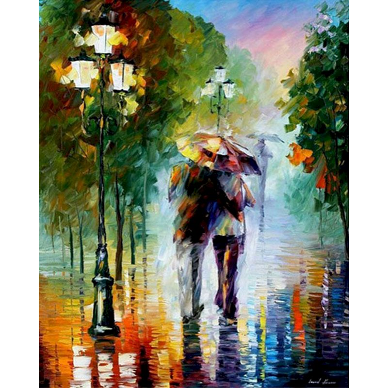 RUOPOTY DIY Lovers In The Rain Romance Painting By Numbers Figure Canvas Wedding Decoration Art picture Gift for home decor-0