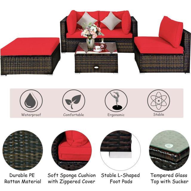 5PCS Patio Furniture Set w Red Cushions  3