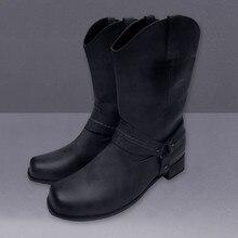 Мужские ботинки кожаная нескользящая обувь на низком каблуке с круглым носком и пряжкой ковбойские ботинки уличные ботинки дезерты Новая модная мужская обувьБотинки    АлиЭкспресс