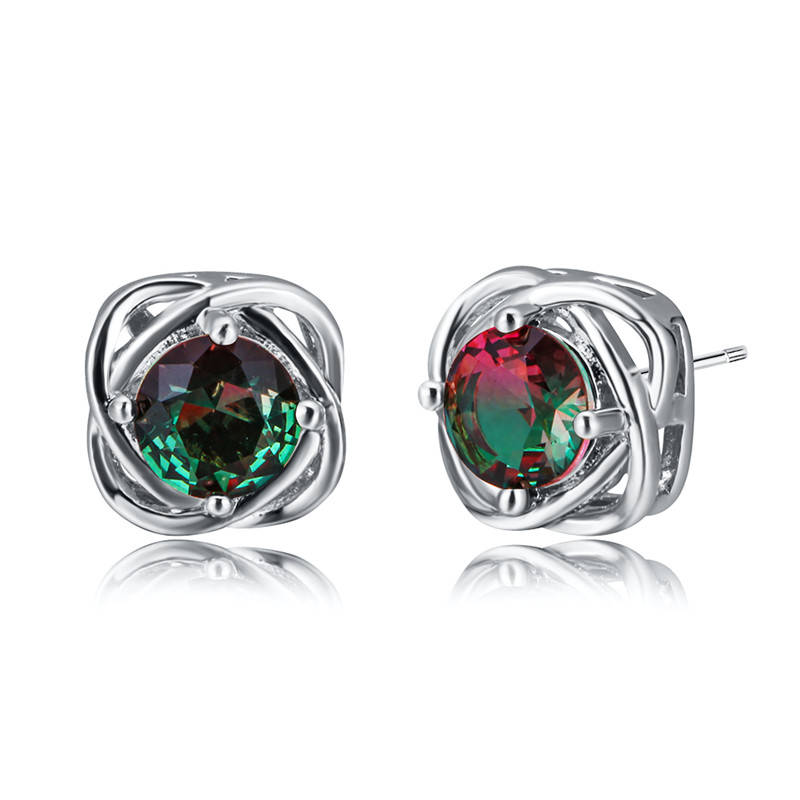 Red Green Crystal Zircon Stud Earrings For Women White Gold/Rose Gold Filled Multicolor CZ Stone Earring Charm Mother's Day Gift