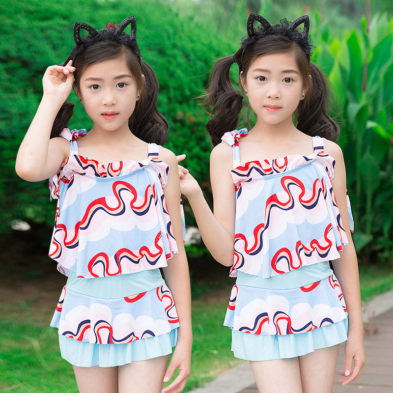 40-55 Jin Children 2019 New Products Children Two-piece Swimsuits Flounced Sleeveless GIRL'S Swimsuit Nt108829