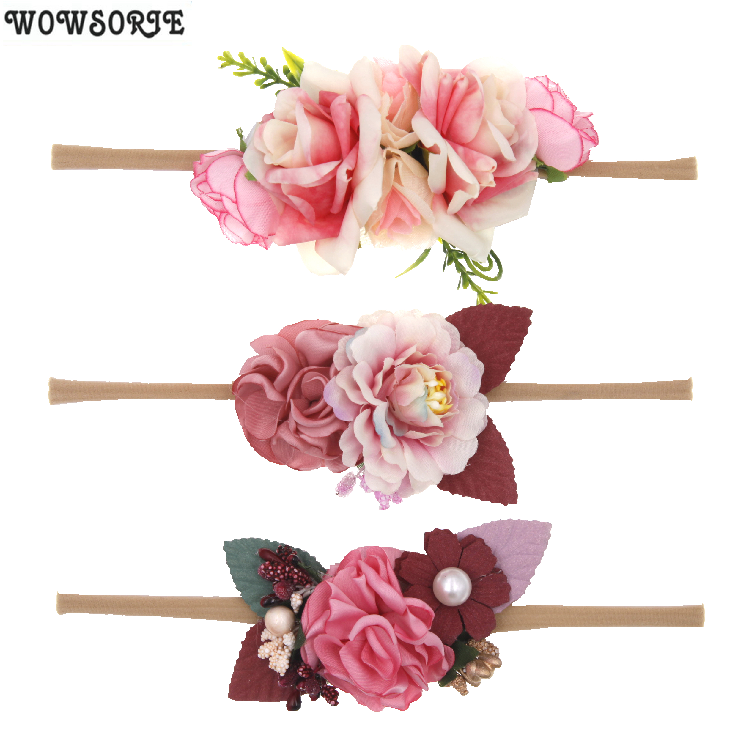 Baby Headband Nylon Florals Headbands Newborn Baby Elastic Princess Pearl Hairbands Kids Girls Hair Accessories Headwear