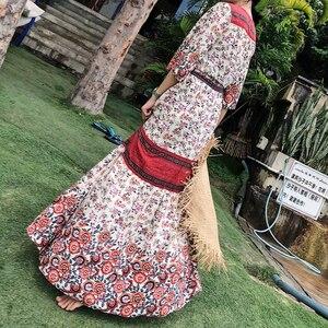 Image 5 - ヴィンテージシックな女性vestidosレッド花柄バットスリーブビーチボヘミアンレーヨン綿マキシドレスレディースvネックタッセル自由奔放に生きるドレス