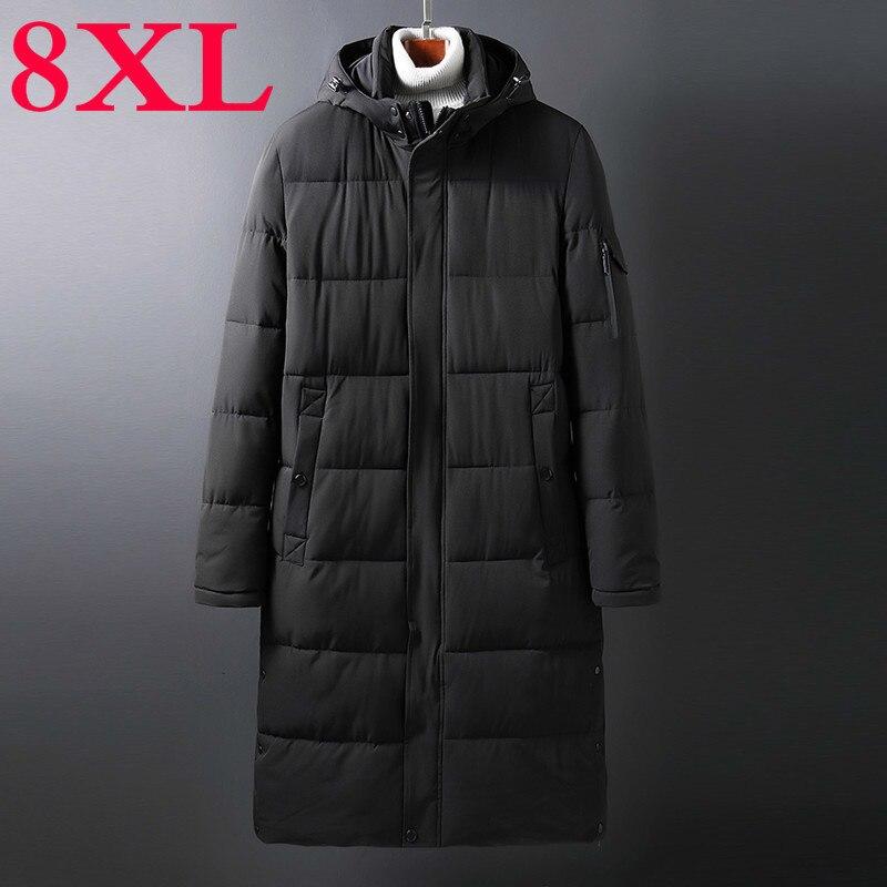 Плюс 10XL 8XL 6XL 5X однотонная Зимняя Мужская парка Повседневная X-long Куртка Верхняя одежда утолщенная теплая верхняя одежда с капюшоном пальто в...