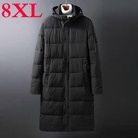 Plus 10XL 8XL 6XL 5X Solid Winter Men Parkas Casual X Long Jacket Outwear Thicken Warm Hooded Outwear Coat Windproof Black grey