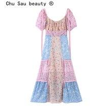 Chu Sau beauty Boho Chic Vintage Floral Printed Maxi Dress W