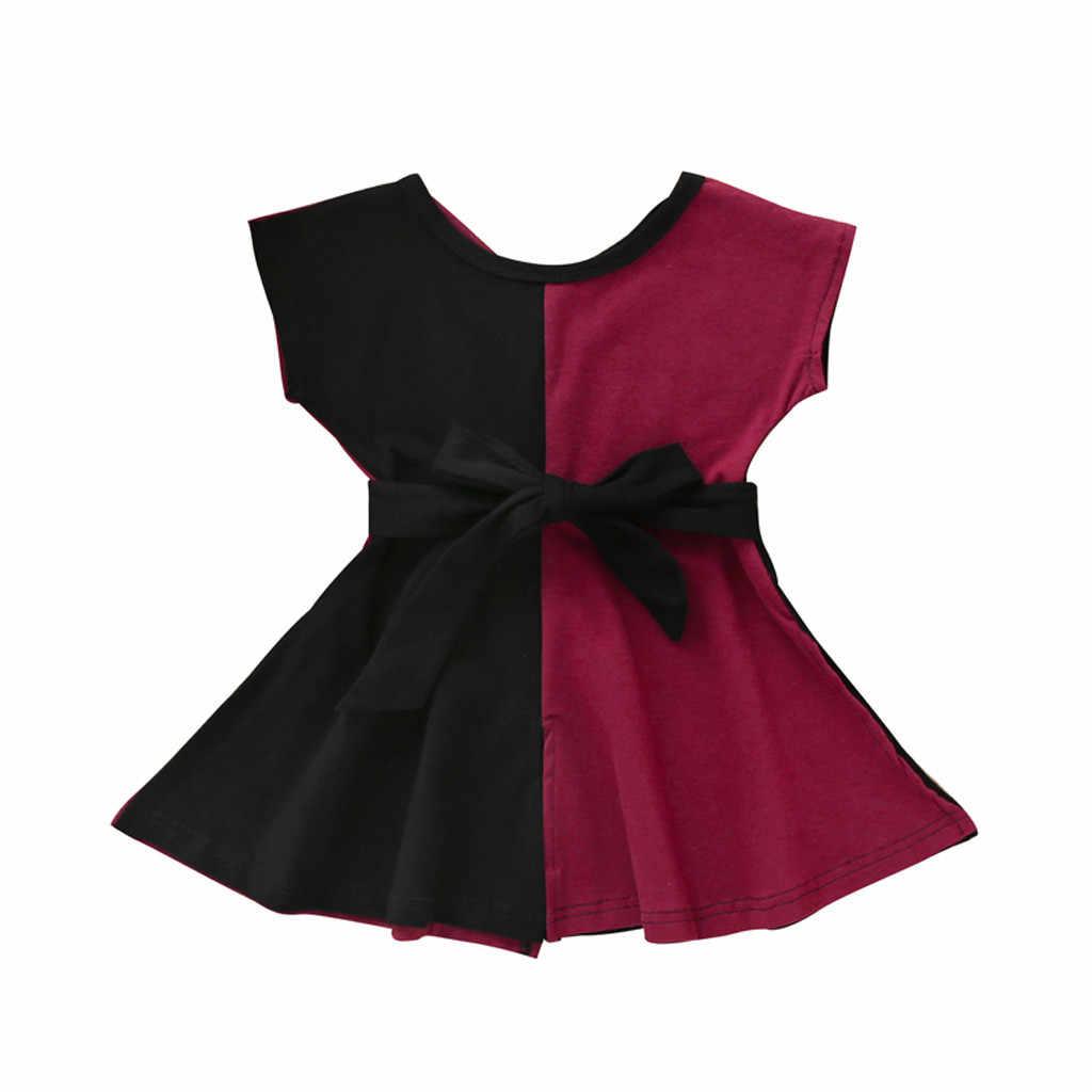 בנות ילדות קטנות קצר שרוול תפרים דו צבע נסיכת חצאית פרפר סוף מותניים שמלת детские платья