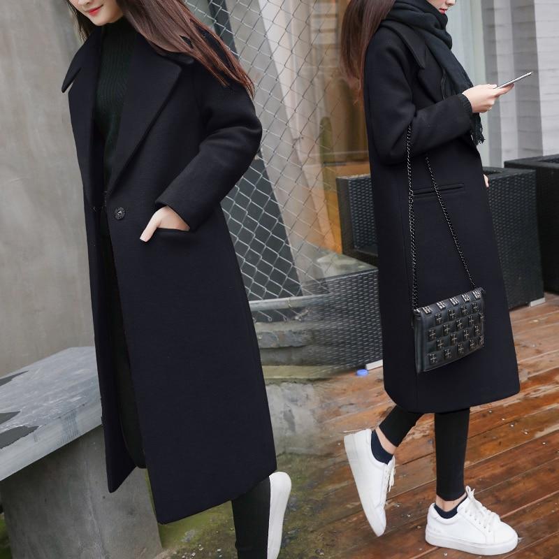 2019 New Ladies' jacket Fashion Single Breasted Slim Women Autumn Winter Wool Coat Long Wool Coat Spring Autumn Women Wool Coat 2