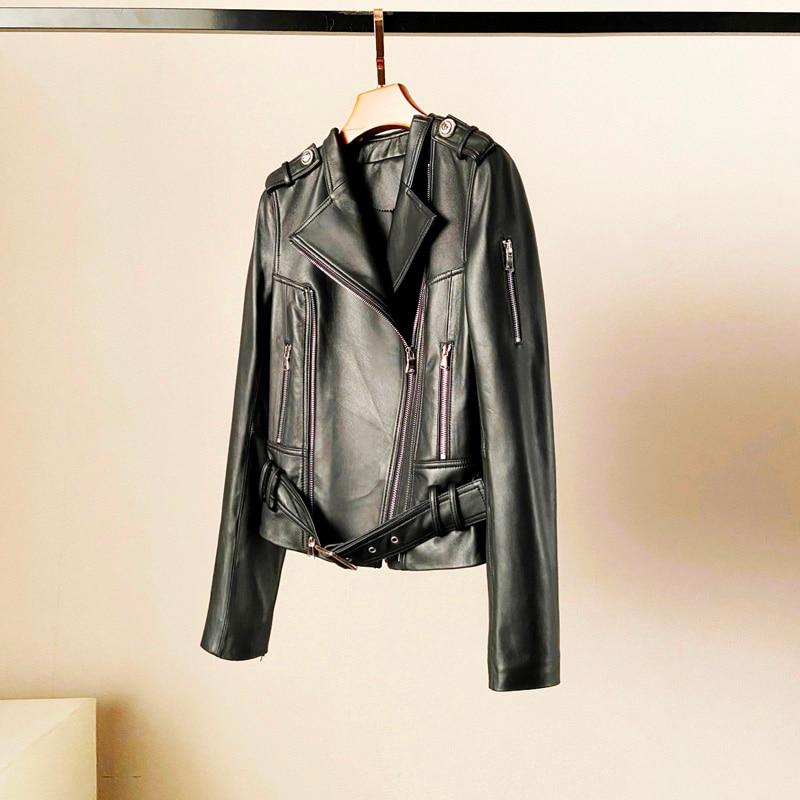 ZURICHOUSE 2020 Women's Genuine Leather Jacket Short Fashion O-neck Design Top Quality 100% Sheepskin Real Leather Coat