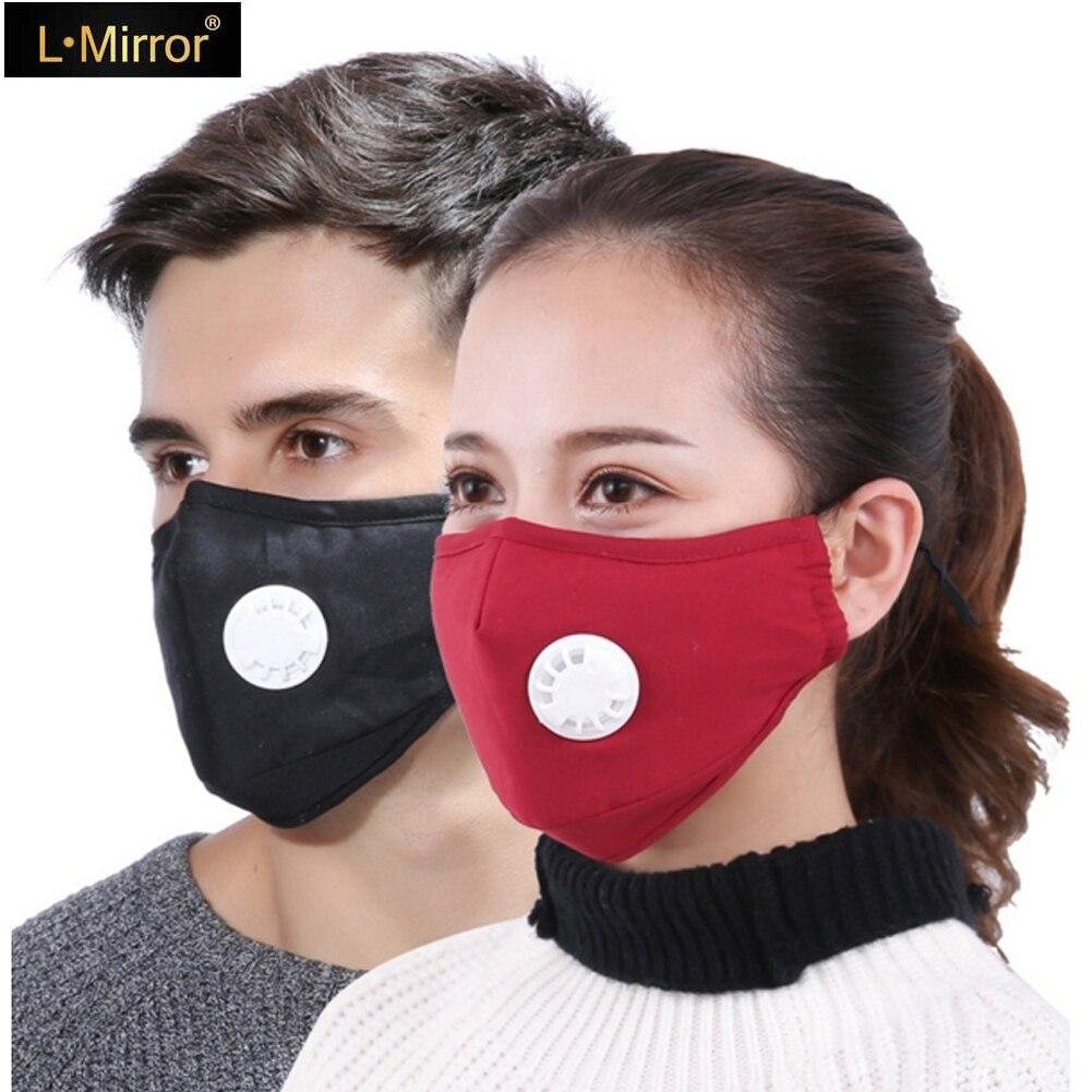 L.Mirror 1Pcs Anti Dust PM2.5 Respirator Washable Reusable Masks Cotton Unisex Warm And Dust-proof Breath Proof Haze Mouth Mask