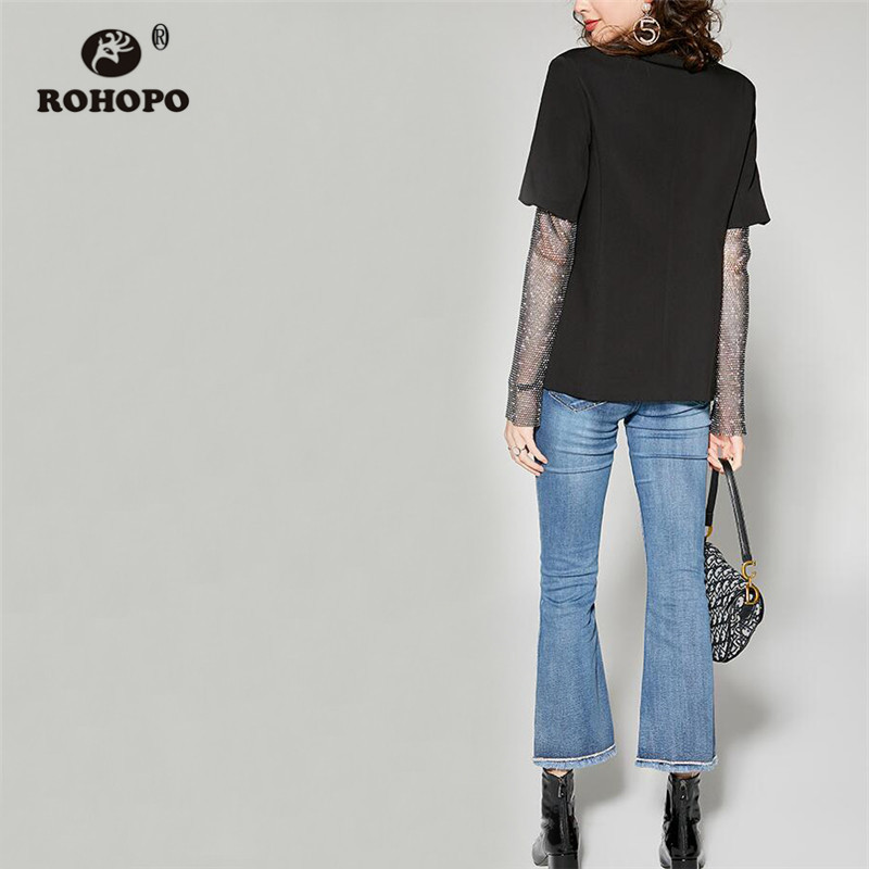 ROHOPO Splice Diamond Sleeve Top Pockets Black Slim Blazer Twill Blend Noteched Collar Ladies Elegant Autumn Outwear #9116