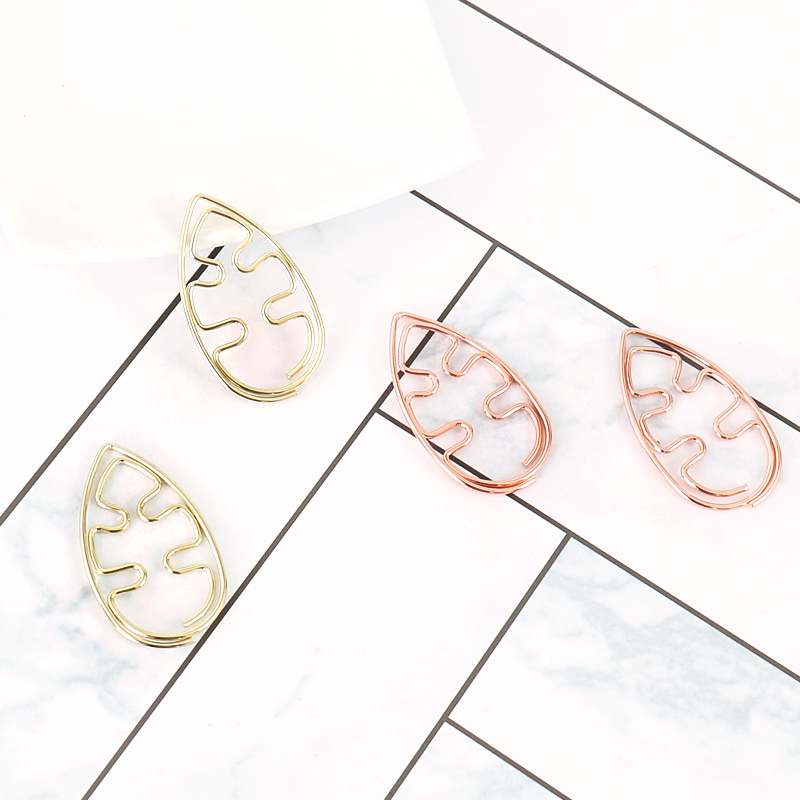 Leaves Bookmark Metal Paper Clip Decor Rose Gold Colorfur Cute Book Note Decoration Binder Clip Stationery School 10pcs/box