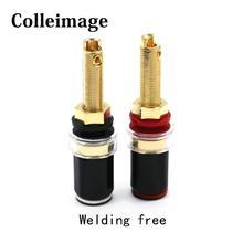 Colleimage Hifi Qualidade De Cristal De Bronze Binding Post para Speaker Amplificador de Linha de Áudio 4 milímetros Banana Plug Conector Do Terminal de Tomada