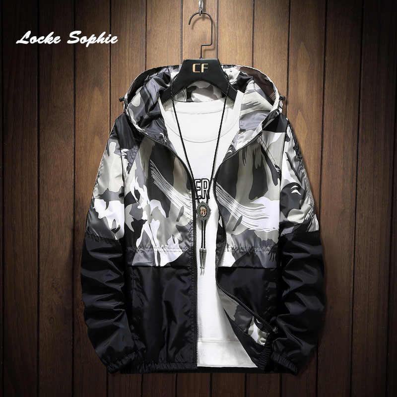 1 adet erkekler artı boyutu fermuar ceketler mont 2020 bahar nefes kumaşlar kamuflaj baskılar kapşonlu palto erkekler seyahat ceket mont