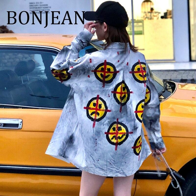 BONJEAN sourire motif imprimé chemises 2019 automne lâche hauts et chemisiers à manches longues Vintage chemises pour femmes Chemise Femme BJ1795