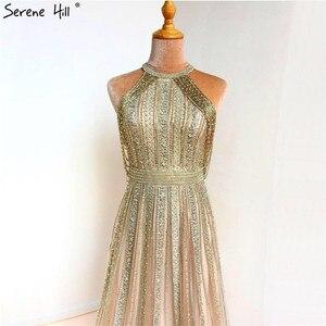Image 3 - Dubaj złoto bez rękawów Sexy line suknie wieczorowe 2020 diamentowe koralikowe frędzelki formalna sukienka Serene Hill LA70357