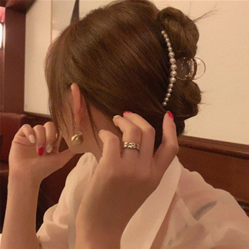 1PC Rhinestones Beads Hairgrip Hairpins Hair Accessories Ornaments Barrette Imitation Pearl Hair Claw Hair Clip For Women Girl