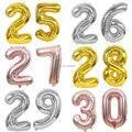 40 дюймов, цифры 25, 26, 27, 28, 29, 30, воздушные шары, золотистые, серебристые, Φ, 25th, 26th, 27th, 28th, 29th, 30th, воздушные шары на день рождения