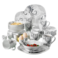 VEWEET ZOEY 40 Piece Porcelain Tableware Set Decal Pattern Dinnerware Sets with Dinner Plate,Dessert Plate,Bowl,Mug,Egg Cup