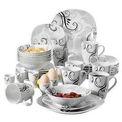 VEWEET ZOEY 40 Stuk Porselein Servies Set Decal Patroon Servies Sets met Diner Plaat, Dessertbord, kom, Mok, Ei Cup