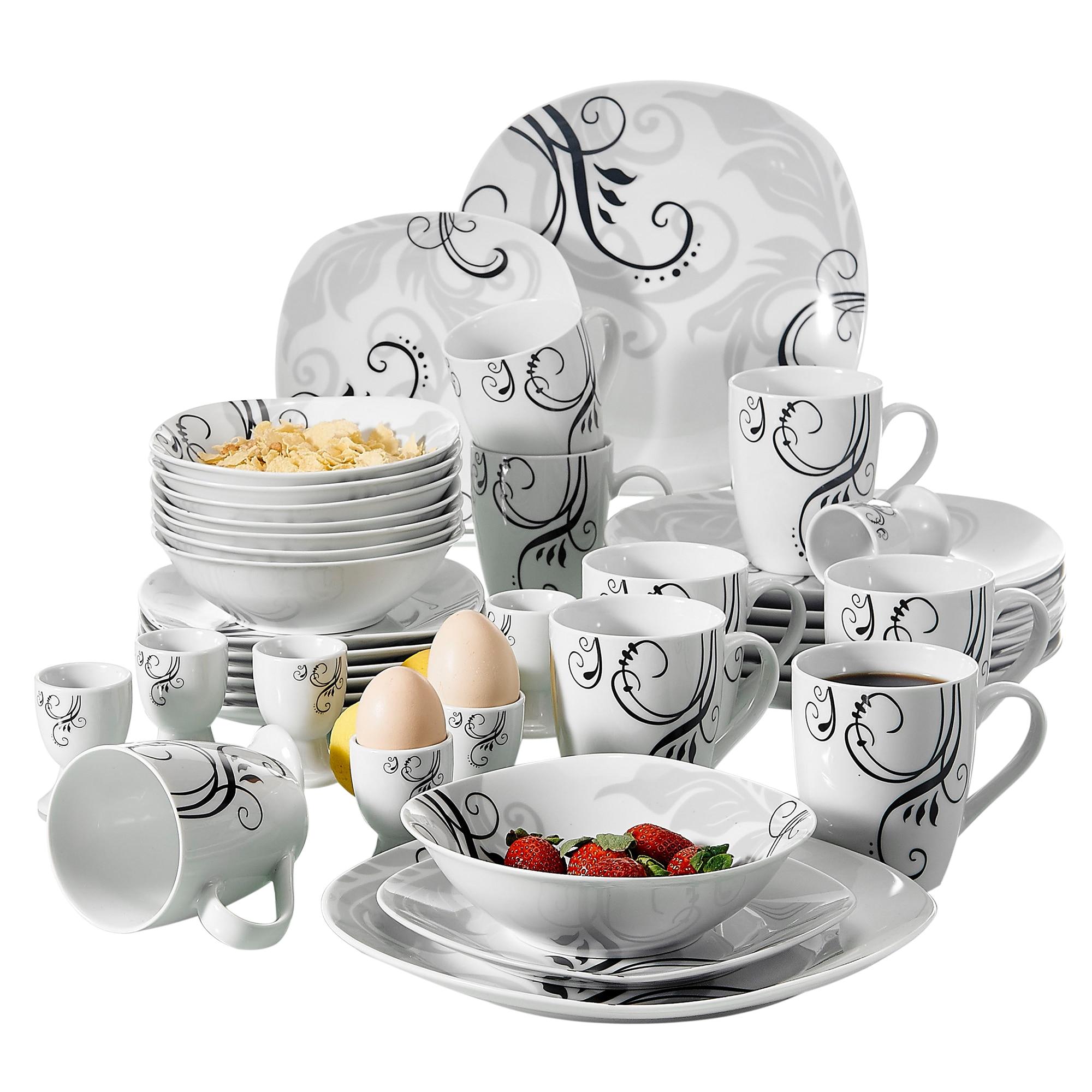 Veweet zoey conjunto de louça de porcelana de 40 peças decalque padrão conjuntos de louça com placa de jantar, placa de sobremesa, tigela, caneca, copo de ovo