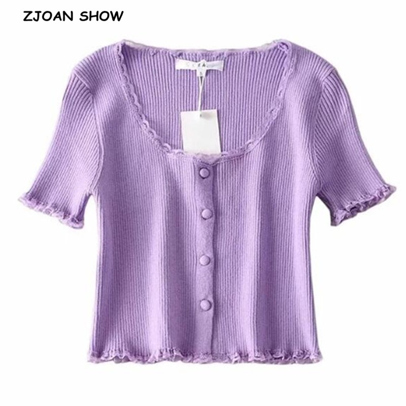 2020 Retro O Neck Spliced Wood Ears Lace Buttons Short Sleeve Sweater Women French Knitted Tight Cardigan Slim Cropped Sweater