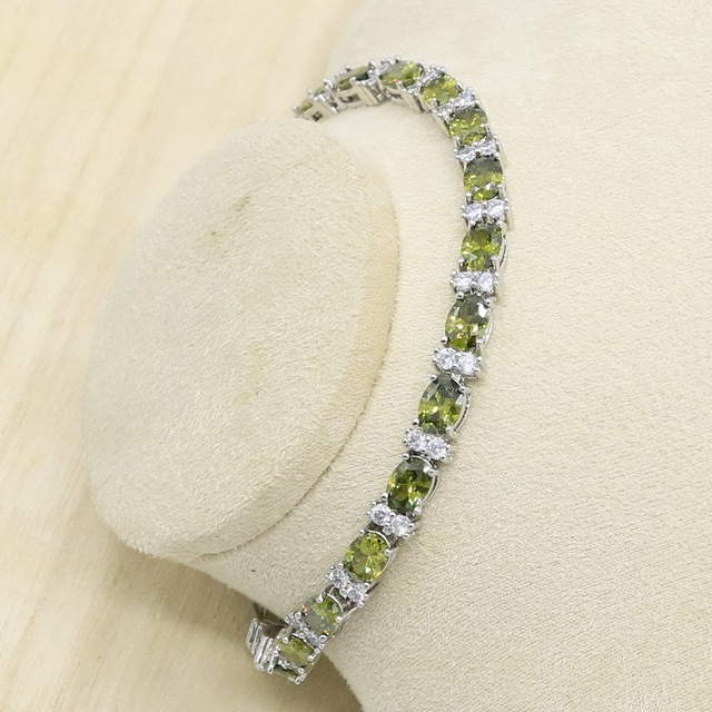 New Olive Green Zircon  Silver Color Jewelry Set for Women with Bracelet Earrings Necklace Pendant Ring Birthday Gift 4