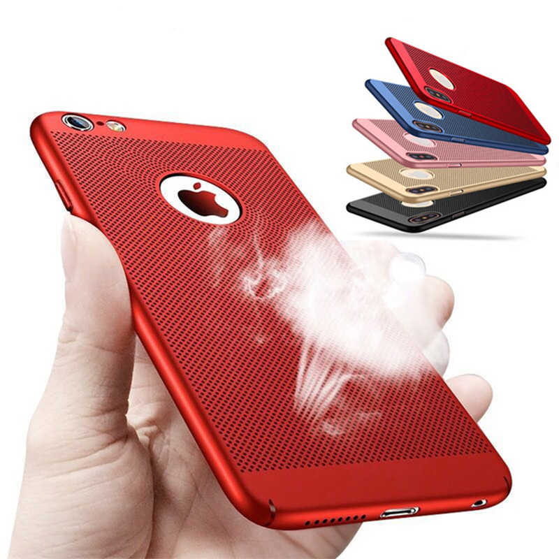 Ultra Slim Ponsel Case untuk iPhone X XS 11 Pro Max 6 S 7 7 Plus Hollow Panas Disipasi Case keras PC untuk iPhone 5 S SE Cover Coque