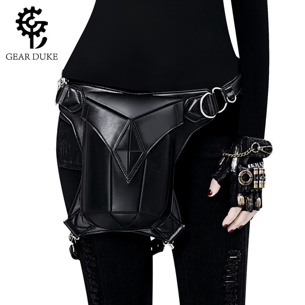 Steampunk Waist Bag Vintage Designer Fanny Pack For Women Luxury Leather Streetwear Bum Bag Chest Bag For Men Belt Bags 2019