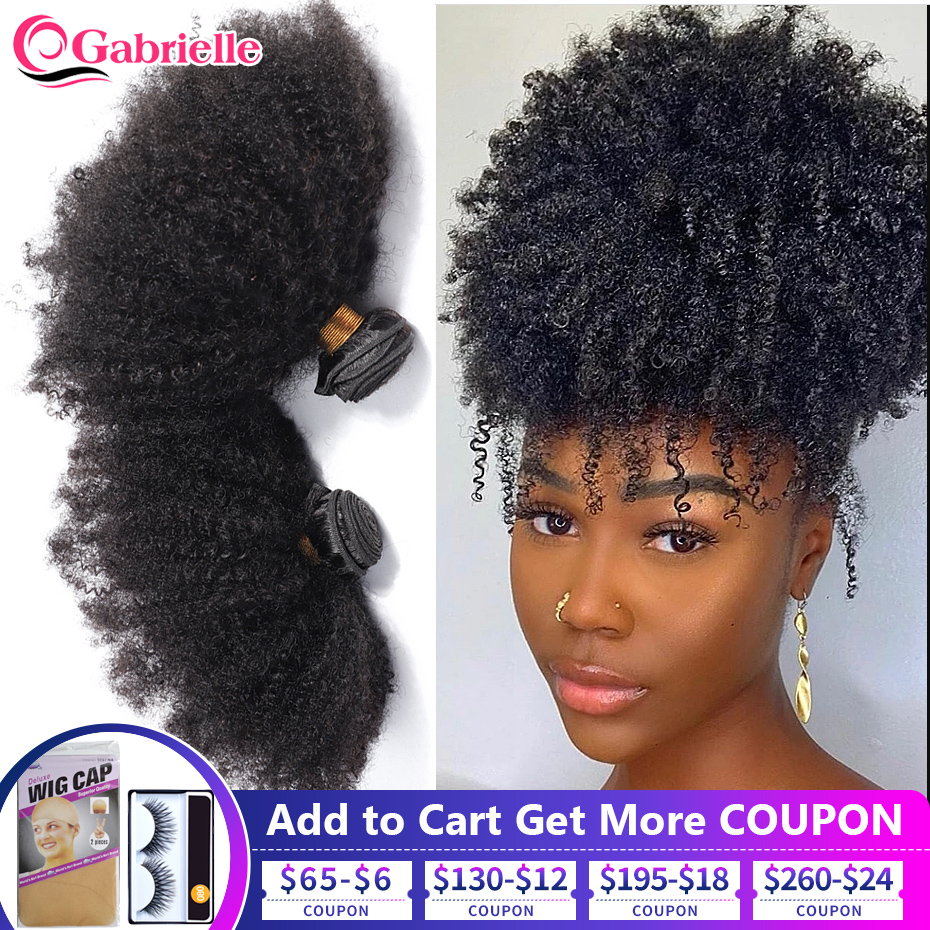 Gabrielle mongol afro kinky encaracolado feixes de cabelo 8-20 polegada 100% feixes de cabelo humano 3/4 pçs cabelo remy tece cabelo curto encaracolado