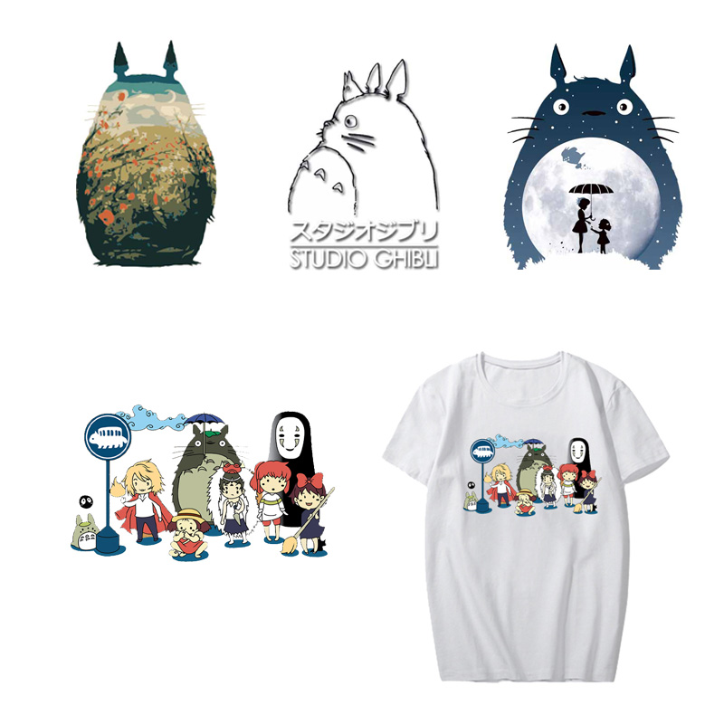 Iron On Totoro Patches Heat Transfer Vinyl Stickers For Clothes DIY T-shirt Iron-On Transfers Decoration Applique Thermal Press