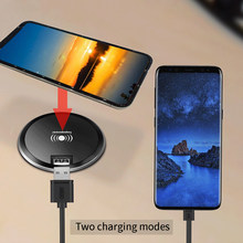 Office Desk Desktop Embedded Quick Charge Pad 2 in 1 Universal USB Wireless Charger 5W 10W Fast Charger for Samsung S8 S7 S9 S6(China)