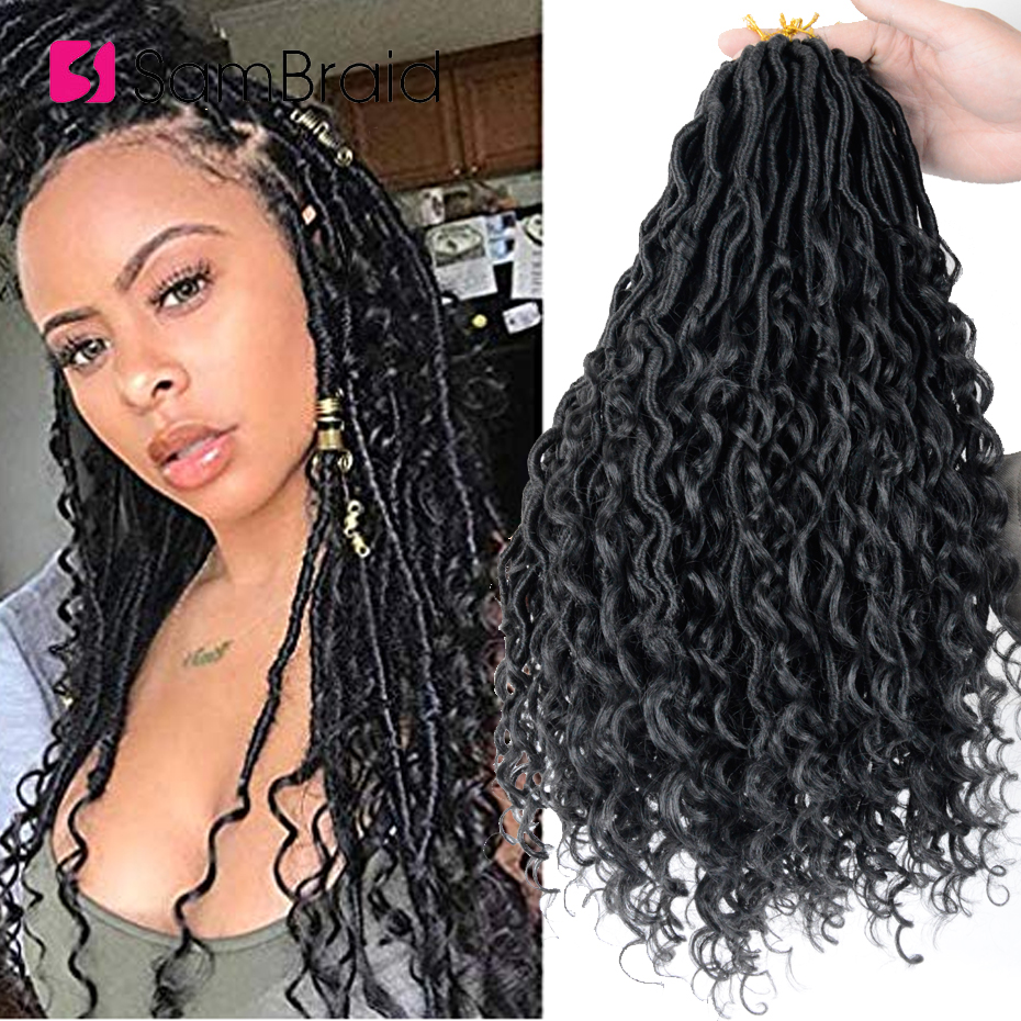 SAMBRAID 18 INCH Goddess Locs Crochet Hair Synthetic Braiding Hair Extension Curly Faux Locs Crochet Braids For Women Black