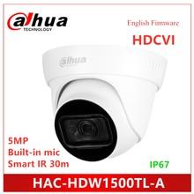 Dahua 5MP HDCVI IR Eyeball Camera HAC-HDW1500TL-A Built-in MIC Smart IR 30m Waterproof IP67 HDCVI Camera dahua 2mp wdr hdcvi ir dome camera hac hdbw2221f built in mic ip67 ik10 mini cmos cctv mini camera