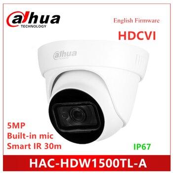 Dahua 5MP HDCVI IR Eyeball Camera HAC-HDW1500TL-A Built-in MIC Smart IR 30m Waterproof IP67 HDCVI Camera dahua 2x2mp starlight ir mini dome network camera ipc hdbw4231f e2 m built in mic ip67 ik10 original security ip camera no logo