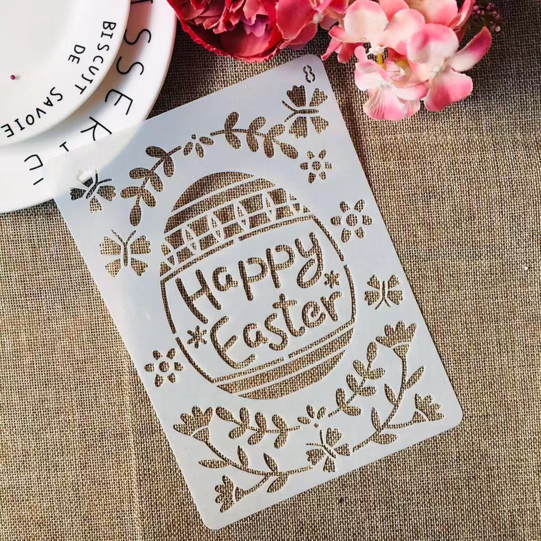 1Pcs 21*15cm Easter Eggs Leaves DIY Layering Stencils Painting Scrapbook Coloring Embossing Decorative Template