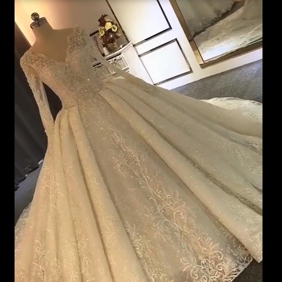 Luxurious  2020 Robe De Mariee Wedding Dresses Lace Custom Beads Crystal V Made Bridal GownsMariage Bride Dresses Off Shoulder