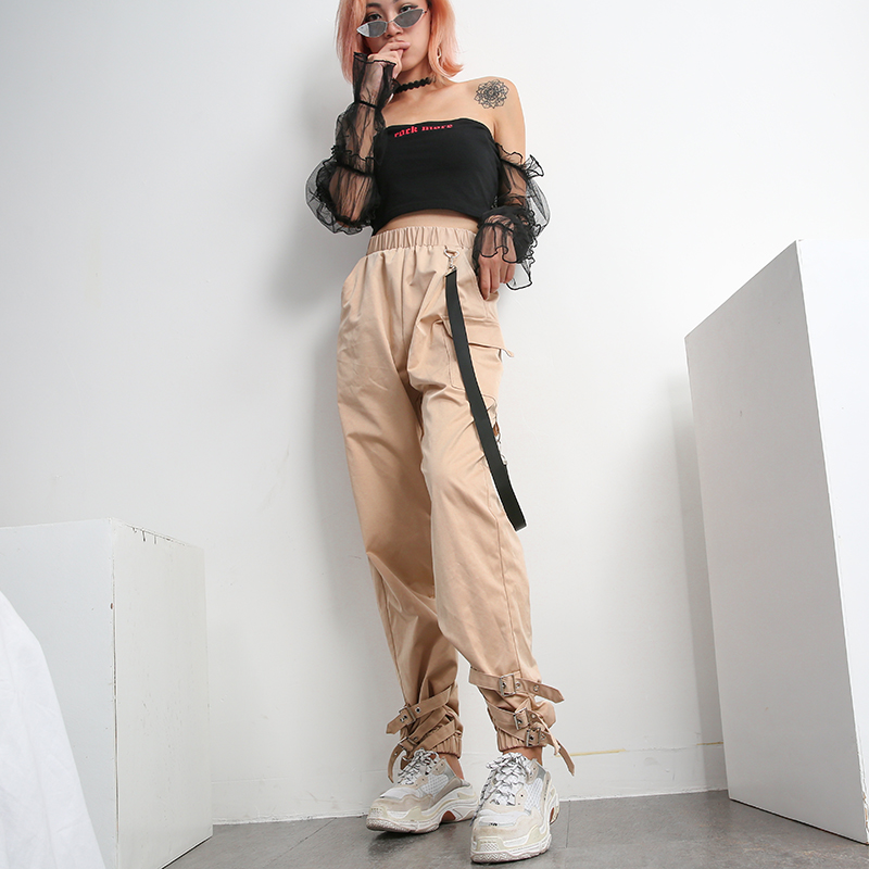 Streetwear Khaki Casual Cargo   Pants     Capris   Women Elastic High Waist Joggers Buttons Fashion Hip Hop Long Trousers TQ0095C