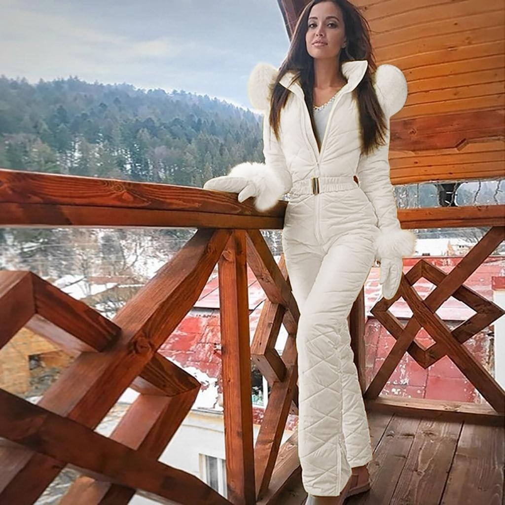 Autumn Winter Women Fashion Casual Thick Hot Snowboard Skisuit Outdoor Sports Zipper Ski Suit Overcoat Jacket Piumini Donna