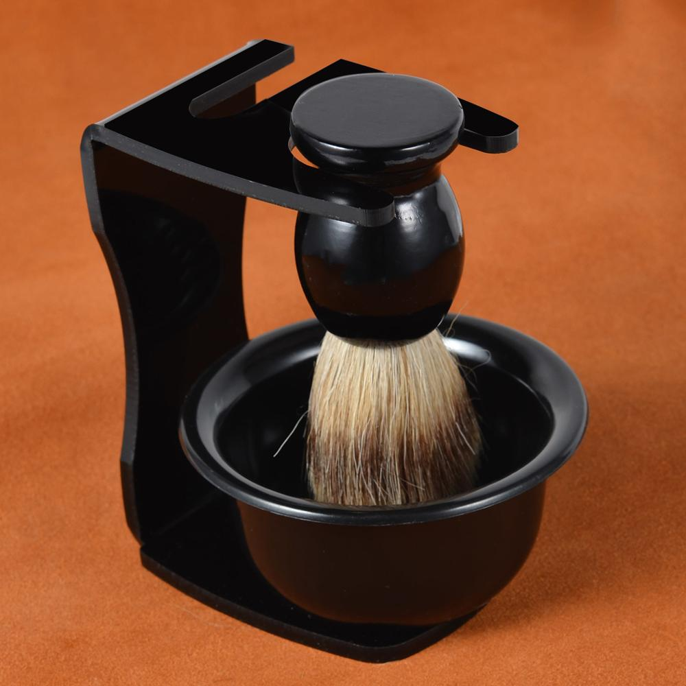 3pcs/set Badger Shaving Brush Wood Handle+ Safety Shaving Razor Holder Stand + Plastic Foam Soap Bowl Barber Men Shaving Set