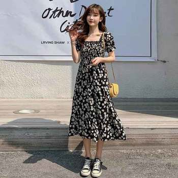 Floral Chiffon Dresses Plus Size Women Summer Square Collar High Waist Elegant Daisy Print Dress Black Midi Lace Up A-Line Dress lace up stripes a line midi dress