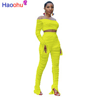 HAOOHU Sexy Sheer Mesh 2 Piece Set For Women Flare Sleeve Pullover Tops + Pencil Pants Perspective Club Two Piece Set Female