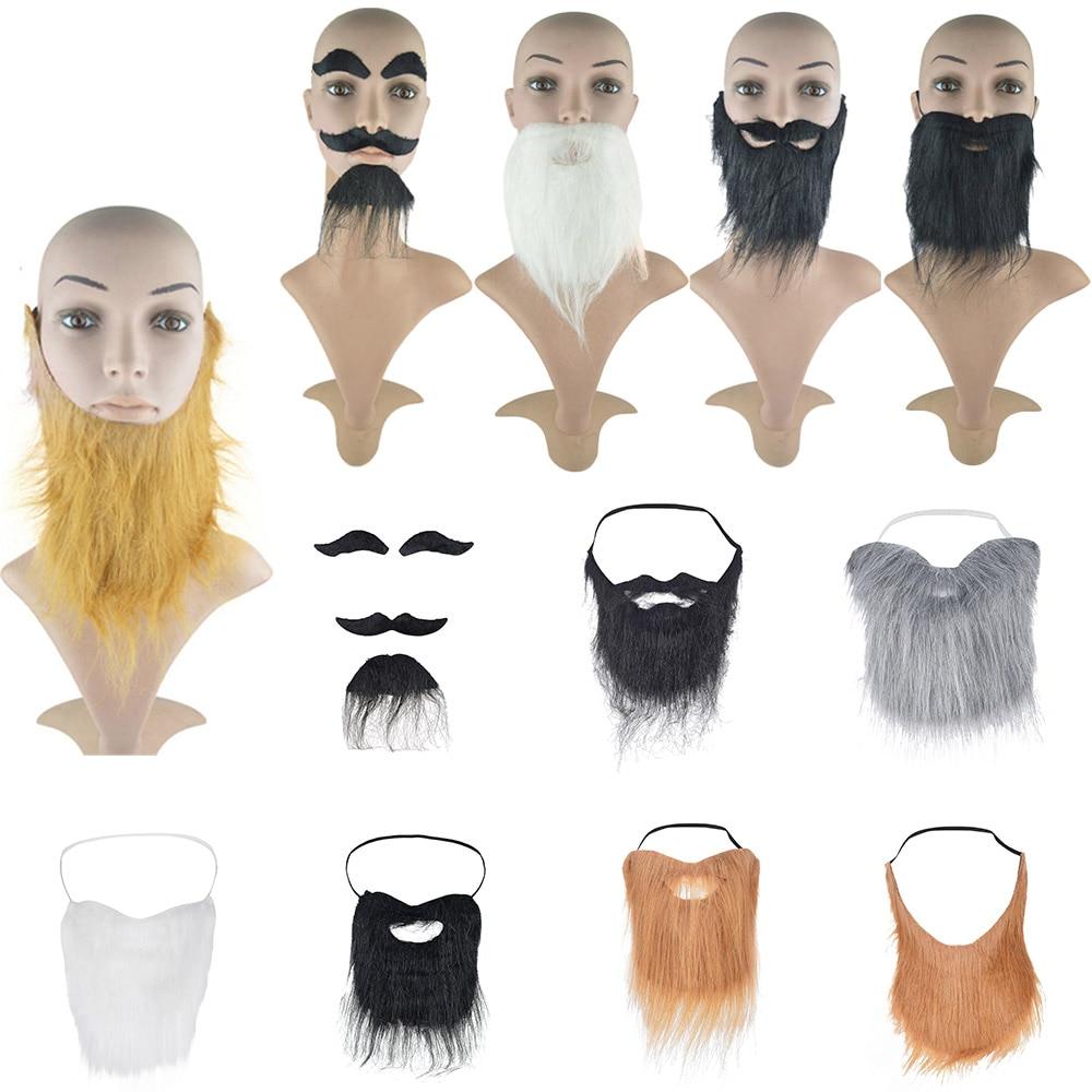 Brown Fake False Moustache Goatee Beard Fancy Dress Costume Outfit Prank Funny