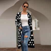 Moda Dot Malha Mulheres Longas Cardigan Bolso Plus Size Cardigan Mujer Sobretudo Streetwear Outono Blusas De Inverno Feminina